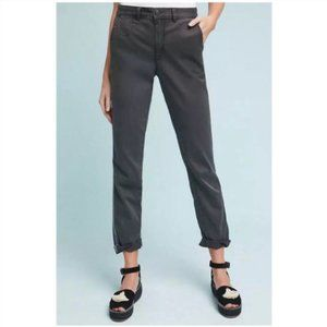 Anthropologie Chino Gray Relaxed Fit Striped Pants